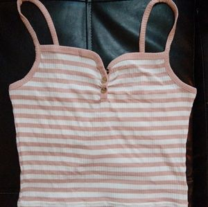 Topshop Pink and White Stripe Button Neck Crop Top